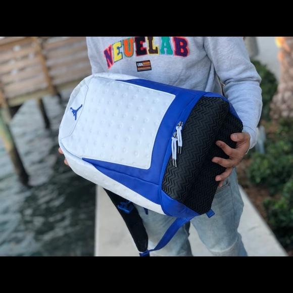 707cf136ebf3 Nike Air Jordan  White Blue  Retro 13 Backpack. NWT. Nike.  74  85. Size
